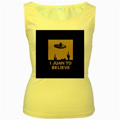 I Juan To Believe Ugly Holiday Christmas Black Background Women s Yellow Tank Top
