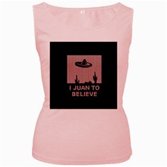 I Juan To Believe Ugly Holiday Christmas Black Background Women s Pink Tank Top