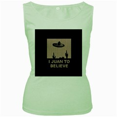 I Juan To Believe Ugly Holiday Christmas Black Background Women s Green Tank Top