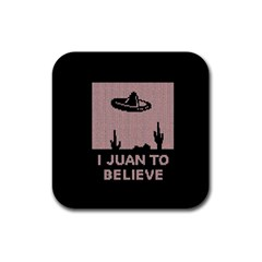 I Juan To Believe Ugly Holiday Christmas Black Background Rubber Square Coaster (4 Pack)