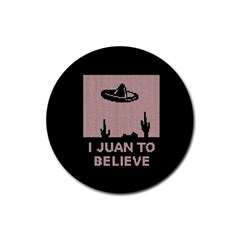 I Juan To Believe Ugly Holiday Christmas Black Background Rubber Round Coaster (4 Pack)
