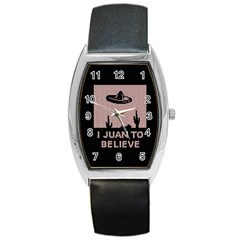 I Juan To Believe Ugly Holiday Christmas Black Background Barrel Style Metal Watch