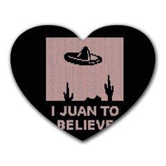I Juan To Believe Ugly Holiday Christmas Black Background Heart Mousepads