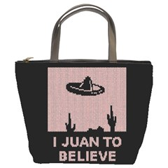 I Juan To Believe Ugly Holiday Christmas Black Background Bucket Bags