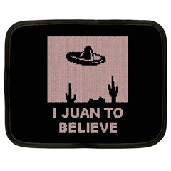 I Juan To Believe Ugly Holiday Christmas Black Background Netbook Case (xl)