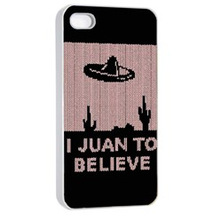I Juan To Believe Ugly Holiday Christmas Black Background Apple Iphone 4/4s Seamless Case (white)