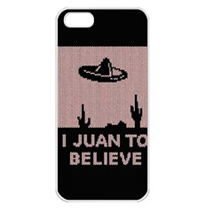 I Juan To Believe Ugly Holiday Christmas Black Background Apple iPhone 5 Seamless Case (White)