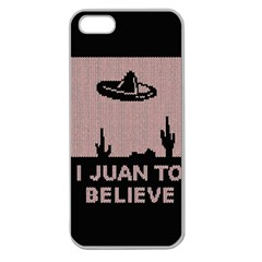 I Juan To Believe Ugly Holiday Christmas Black Background Apple Seamless iPhone 5 Case (Clear)