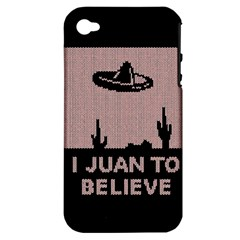 I Juan To Believe Ugly Holiday Christmas Black Background Apple iPhone 4/4S Hardshell Case (PC+Silicone)