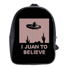 I Juan To Believe Ugly Holiday Christmas Black Background School Bags (XL)