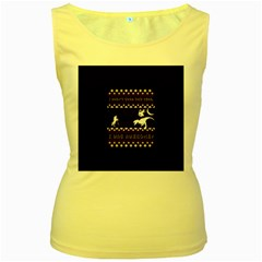 I Wasn t Good This Year, I Was Awesome! Ugly Holiday Christmas Black Background Women s Yellow Tank Top