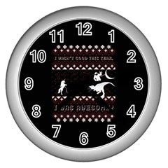 I Wasn t Good This Year, I Was Awesome! Ugly Holiday Christmas Black Background Wall Clocks (silver)