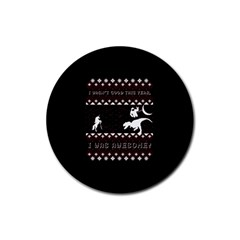 I Wasn t Good This Year, I Was Awesome! Ugly Holiday Christmas Black Background Rubber Round Coaster (4 Pack)