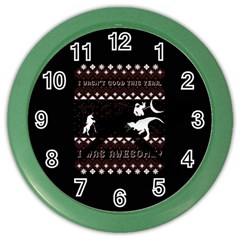 I Wasn t Good This Year, I Was Awesome! Ugly Holiday Christmas Black Background Color Wall Clocks