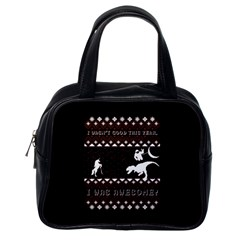 I Wasn t Good This Year, I Was Awesome! Ugly Holiday Christmas Black Background Classic Handbags (One Side)
