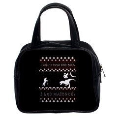 I Wasn t Good This Year, I Was Awesome! Ugly Holiday Christmas Black Background Classic Handbags (2 Sides)