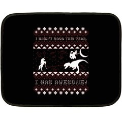 I Wasn t Good This Year, I Was Awesome! Ugly Holiday Christmas Black Background Double Sided Fleece Blanket (Mini)