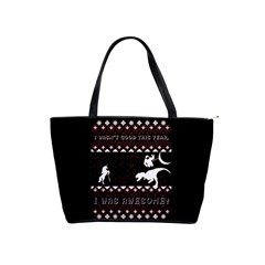 I Wasn t Good This Year, I Was Awesome! Ugly Holiday Christmas Black Background Shoulder Handbags