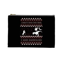 I Wasn t Good This Year, I Was Awesome! Ugly Holiday Christmas Black Background Cosmetic Bag (Large)