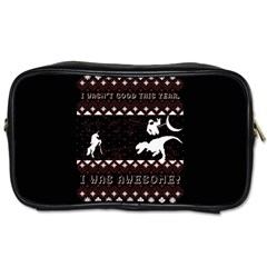 I Wasn t Good This Year, I Was Awesome! Ugly Holiday Christmas Black Background Toiletries Bags 2-Side