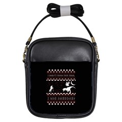 I Wasn t Good This Year, I Was Awesome! Ugly Holiday Christmas Black Background Girls Sling Bags