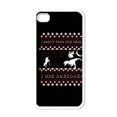 I Wasn t Good This Year, I Was Awesome! Ugly Holiday Christmas Black Background Apple Iphone 4 Case (white)