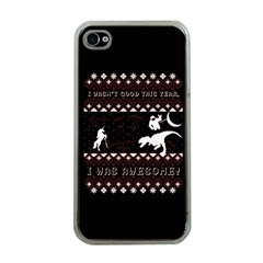 I Wasn t Good This Year, I Was Awesome! Ugly Holiday Christmas Black Background Apple iPhone 4 Case (Clear)