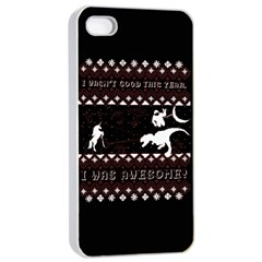I Wasn t Good This Year, I Was Awesome! Ugly Holiday Christmas Black Background Apple iPhone 4/4s Seamless Case (White)