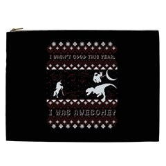 I Wasn t Good This Year, I Was Awesome! Ugly Holiday Christmas Black Background Cosmetic Bag (XXL)
