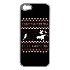 I Wasn t Good This Year, I Was Awesome! Ugly Holiday Christmas Black Background Apple iPhone 5 Case (Silver)