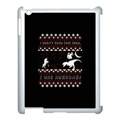 I Wasn t Good This Year, I Was Awesome! Ugly Holiday Christmas Black Background Apple iPad 3/4 Case (White)