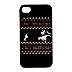 I Wasn t Good This Year, I Was Awesome! Ugly Holiday Christmas Black Background Apple iPhone 4/4S Hardshell Case with Stand