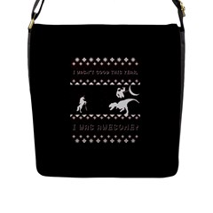 I Wasn t Good This Year, I Was Awesome! Ugly Holiday Christmas Black Background Flap Messenger Bag (L)