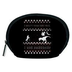 I Wasn t Good This Year, I Was Awesome! Ugly Holiday Christmas Black Background Accessory Pouches (Medium)