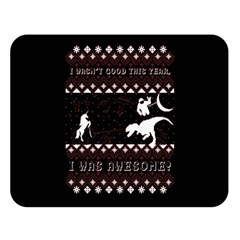 I Wasn t Good This Year, I Was Awesome! Ugly Holiday Christmas Black Background Double Sided Flano Blanket (large)