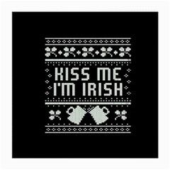 Kiss Me I m Irish Ugly Christmas Black Background Medium Glasses Cloth