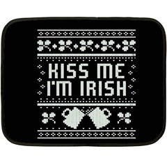 Kiss Me I m Irish Ugly Christmas Black Background Double Sided Fleece Blanket (Mini)