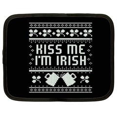 Kiss Me I m Irish Ugly Christmas Black Background Netbook Case (XL)
