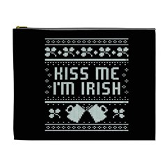 Kiss Me I m Irish Ugly Christmas Black Background Cosmetic Bag (xl)