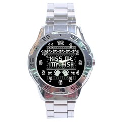 Kiss Me I m Irish Ugly Christmas Black Background Stainless Steel Analogue Watch