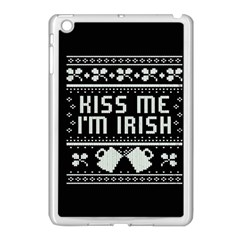 Kiss Me I m Irish Ugly Christmas Black Background Apple iPad Mini Case (White)