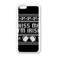 Kiss Me I m Irish Ugly Christmas Black Background Apple iPhone 6/6S White Enamel Case