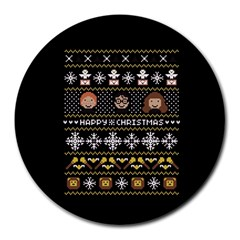 Merry Nerdmas! Ugly Christma Black Background Round Mousepads