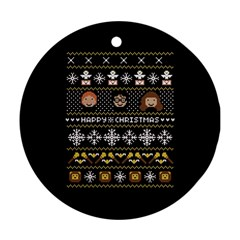 Merry Nerdmas! Ugly Christma Black Background Ornament (Round)