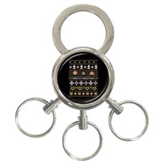 Merry Nerdmas! Ugly Christma Black Background 3-Ring Key Chains