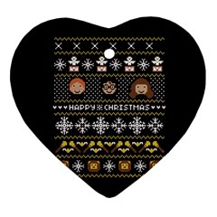 Merry Nerdmas! Ugly Christma Black Background Heart Ornament (Two Sides)