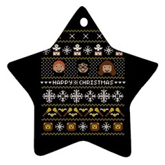 Merry Nerdmas! Ugly Christma Black Background Star Ornament (two Sides)