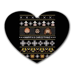Merry Nerdmas! Ugly Christma Black Background Heart Mousepads