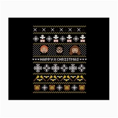 Merry Nerdmas! Ugly Christma Black Background Small Glasses Cloth (2-Side)