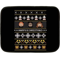 Merry Nerdmas! Ugly Christma Black Background Fleece Blanket (Mini)